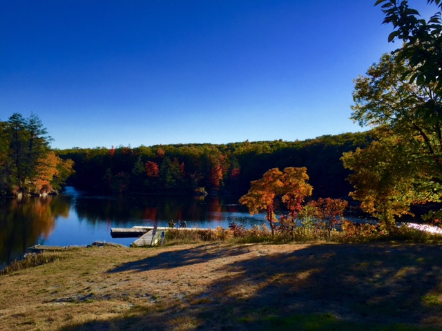 Heaters Pond with visitors in the Fall.